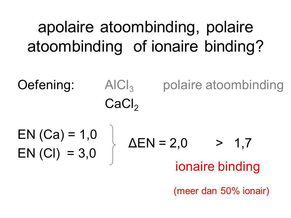 apolaire atoombinding, polaire atoombinding of ionaire binding