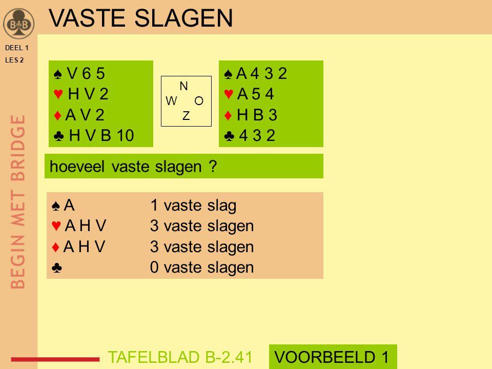VASTE SLAGEN ♠ V 6 5 ♥ H V 2 ♦ A V 2 ♣ H V B 10 ♠ A 4 3 2 ♥ A 5 4