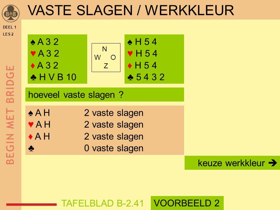 VASTE SLAGEN / WERKKLEUR