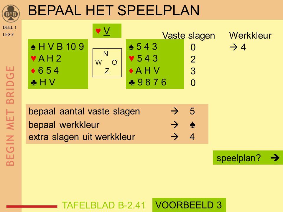 BEPAAL HET SPEELPLAN ♥ V Vaste slagen Werkkleur 0  4 2 3 ♠ H V B 10 9