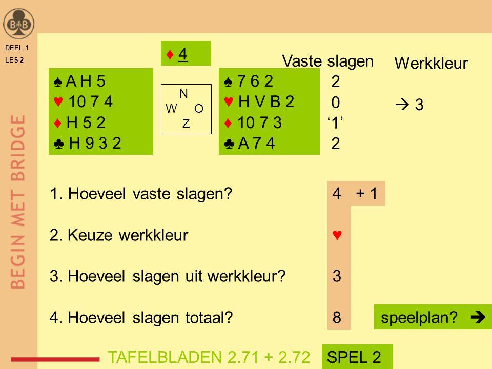 3. Hoeveel slagen uit werkkleur 4. Hoeveel slagen totaal 4 ♥ 3 8 + 1
