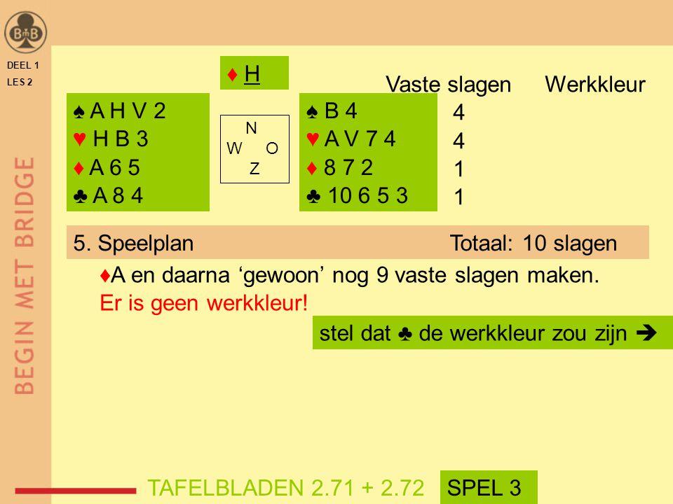 Vaste slagen Werkkleur 4 1 ♠ A H V 2 ♥ H B 3 ♦ A 6 5 ♣ A 8 4 ♠ B 4