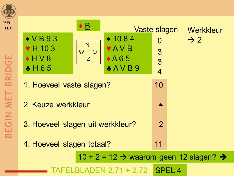 3. Hoeveel slagen uit werkkleur 4. Hoeveel slagen totaal 10 ♠ 2 11