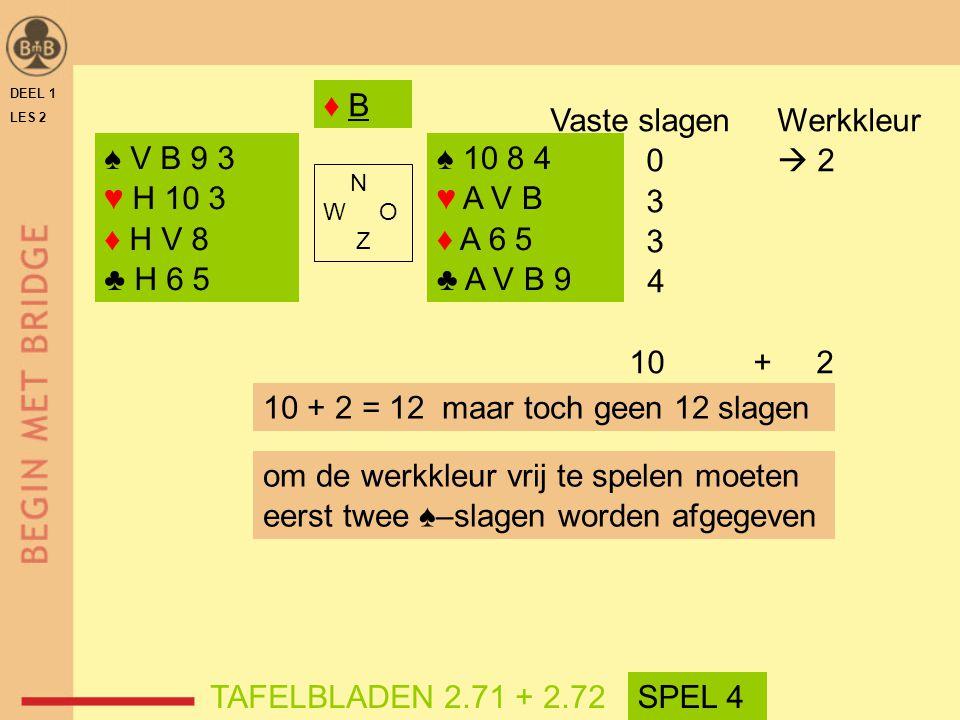 Vaste slagen Werkkleur 0  2 3 4 10 + 2 ♠ V B 9 3 ♥ H 10 3 ♦ H V 8
