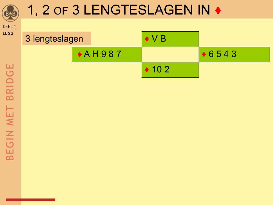 1, 2 OF 3 LENGTESLAGEN IN ♦ 3 lengteslagen ♦ V B ♦ A H 9 8 7 ♦ 6 5 4 3
