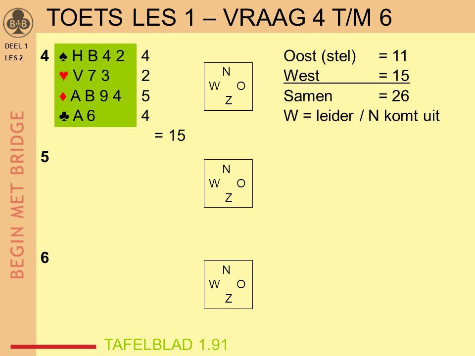 TOETS LES 1 – VRAAG 4 T/M 6 4 ♠ H B 4 2 ♥ V 7 3 ♦ A B 9 4 ♣ A 6 4 2 5