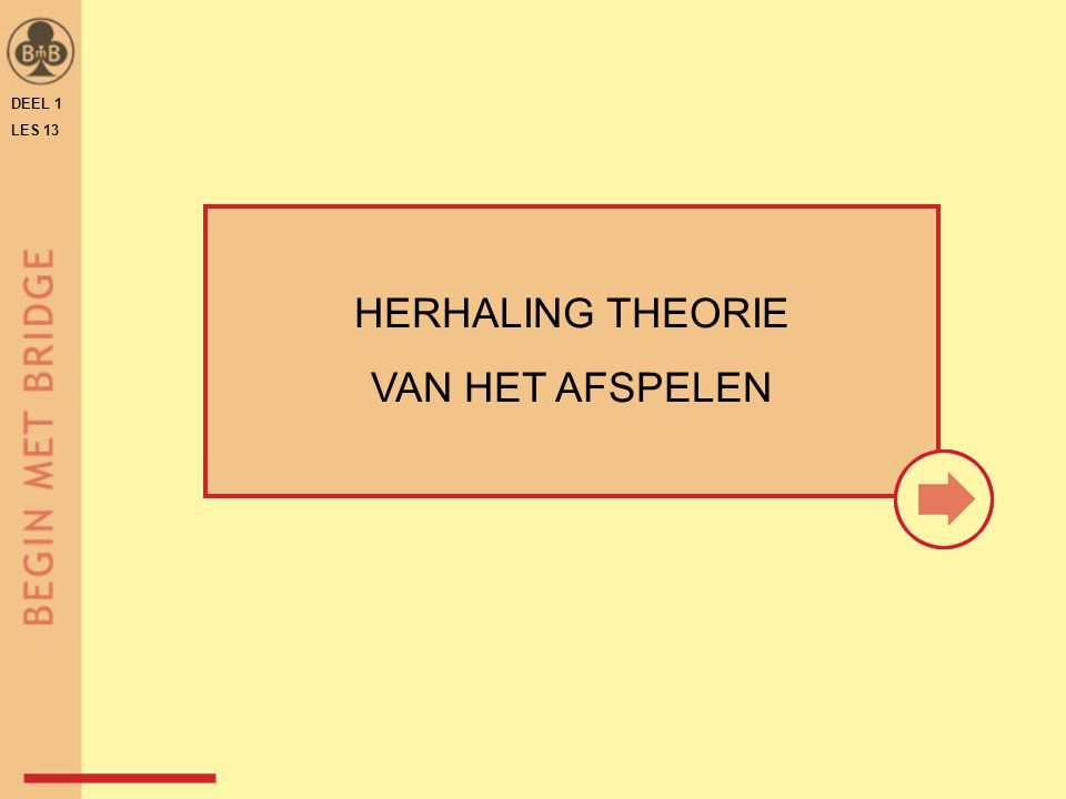 DEEL 1 LES 13 HERHALING THEORIE VAN HET AFSPELEN