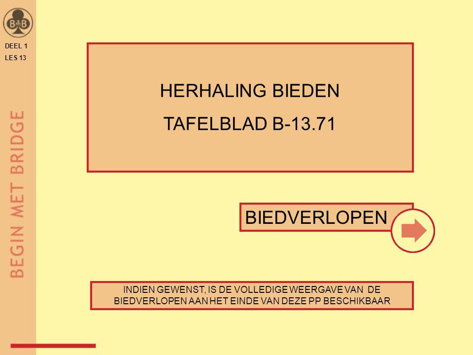 HERHALING BIEDEN TAFELBLAD B-13.71 BIEDVERLOPEN