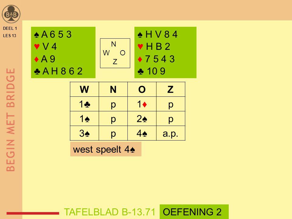 DEEL 1 LES 13. ♠ A 6 5 3. ♥ V 4. ♦ A 9. ♣ A H 8 6 2. ♠ H V 8 4. ♥ H B 2. ♦ 7 5 4 3. ♣ 10 9.
