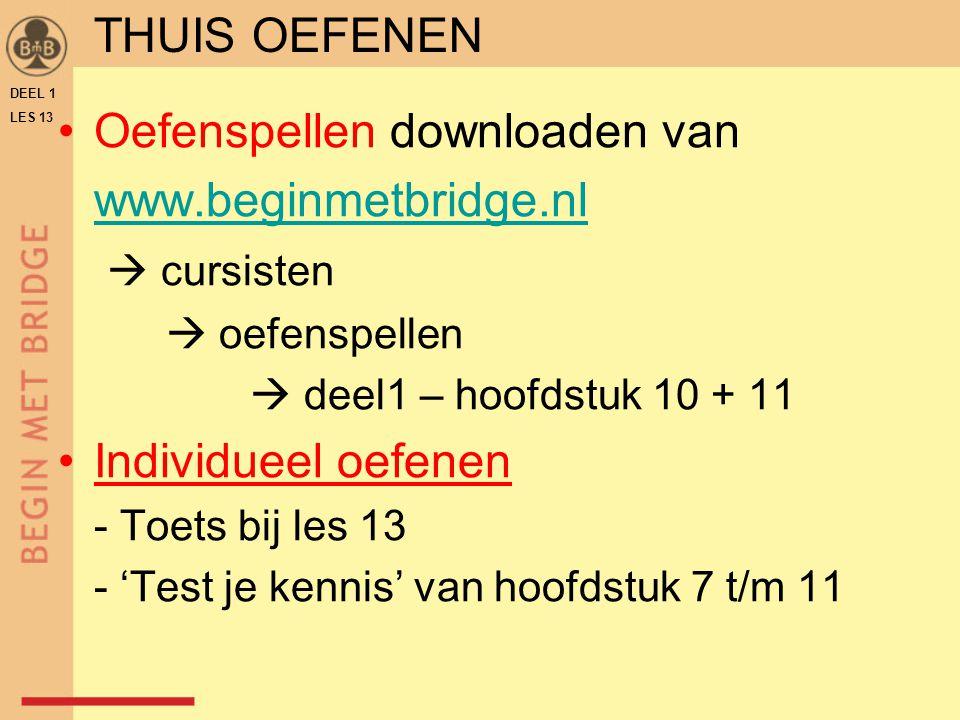 Oefenspellen downloaden van www.beginmetbridge.nl  cursisten