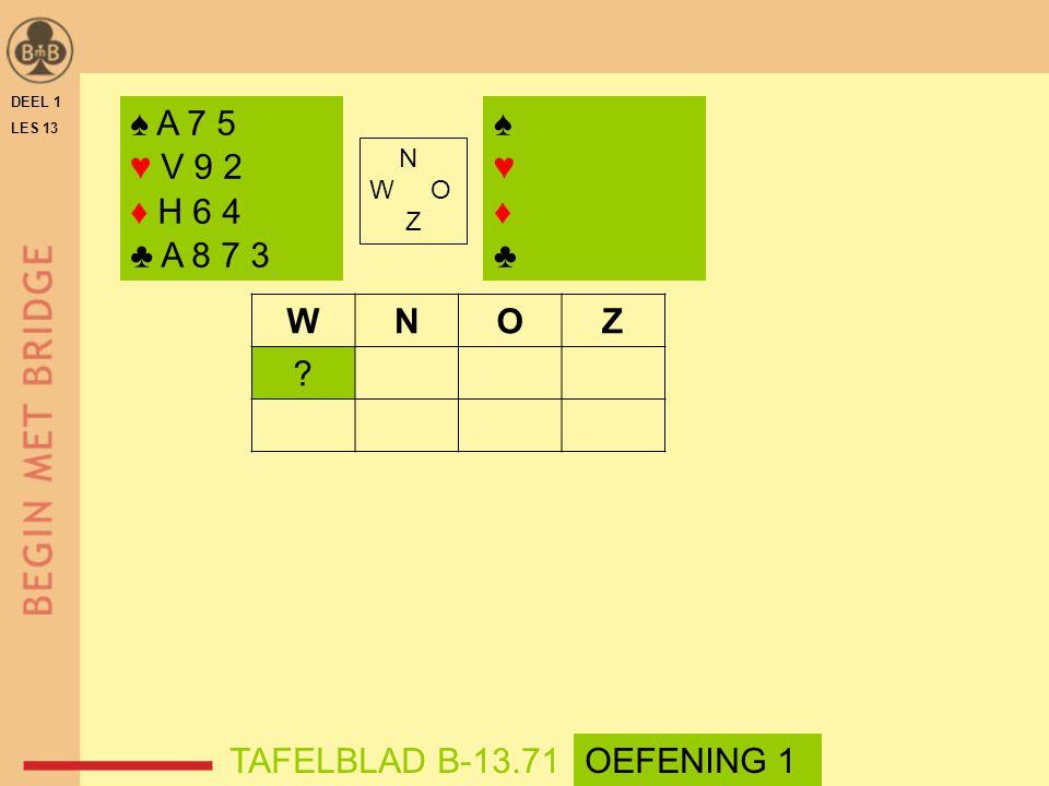 ♠ A 7 5 ♥ V 9 2 ♦ H 6 4 ♣ A 8 7 3 ♠ ♥ ♦ ♣ W N O Z TAFELBLAD B-13.71