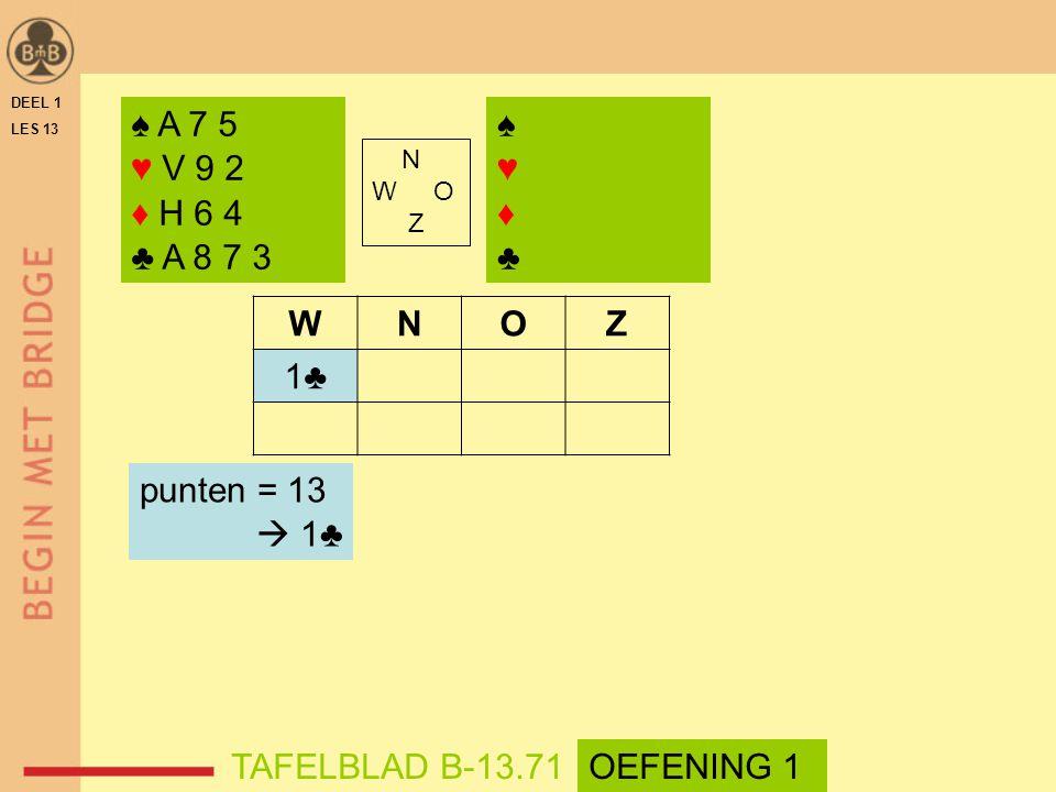 ♠ A 7 5 ♥ V 9 2 ♦ H 6 4 ♣ A 8 7 3 ♠ ♥ ♦ ♣ W N O Z 1♣ punten = 13  1♣