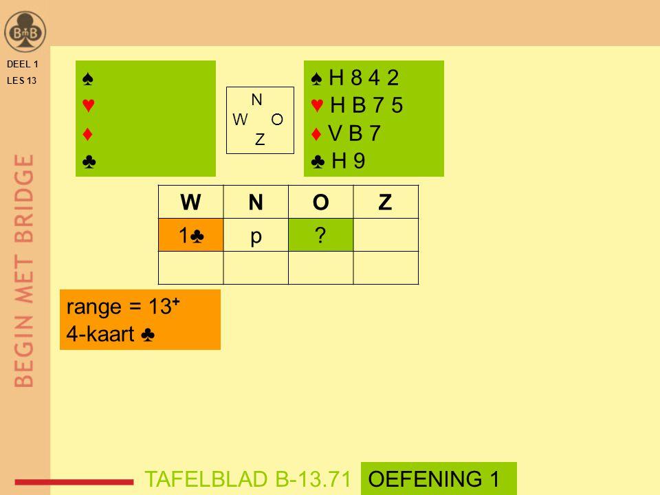 ♠ ♥ ♦ ♣ ♠ H 8 4 2 ♥ H B 7 5 ♦ V B 7 ♣ H 9 W N O Z 1♣ p range = 13+
