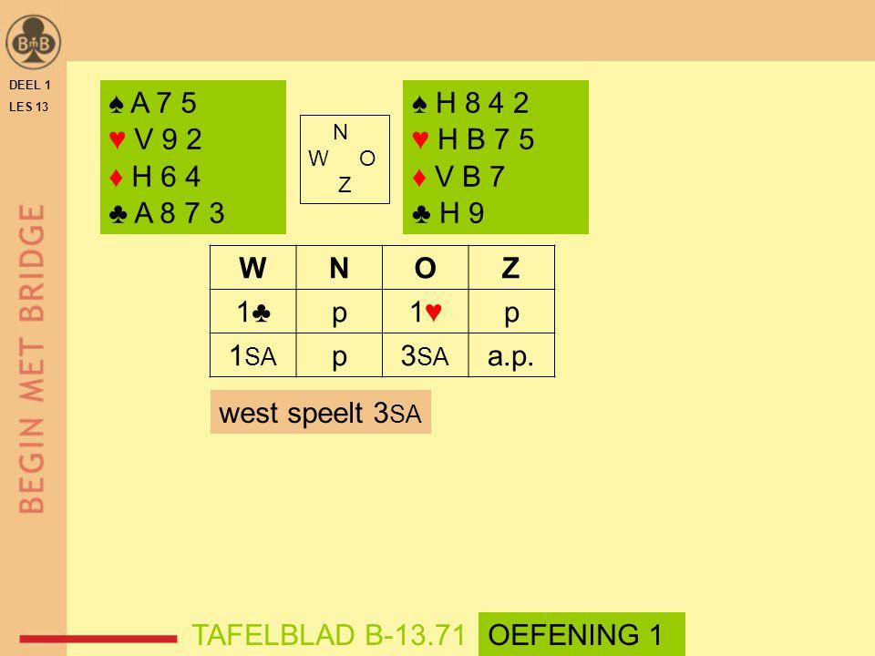 DEEL 1 LES 13. ♠ A 7 5. ♥ V 9 2. ♦ H 6 4. ♣ A 8 7 3. ♠ H 8 4 2. ♥ H B 7 5. ♦ V B 7. ♣ H 9. N.