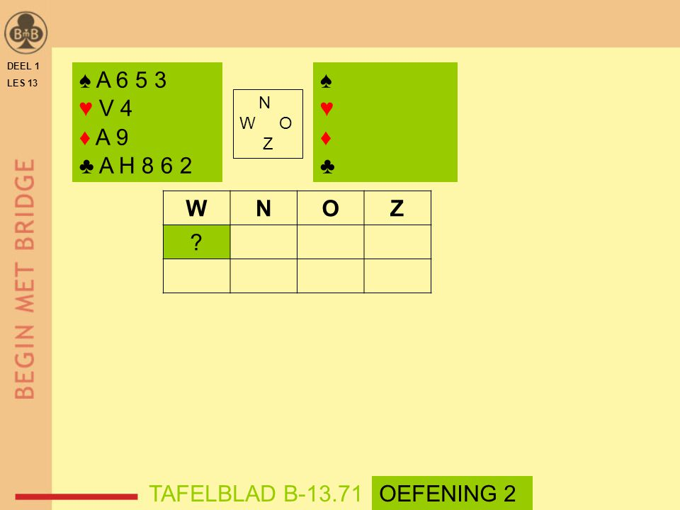 ♠ A 6 5 3 ♥ V 4 ♦ A 9 ♣ A H 8 6 2 ♠ ♥ ♦ ♣ W N O Z TAFELBLAD B-13.71
