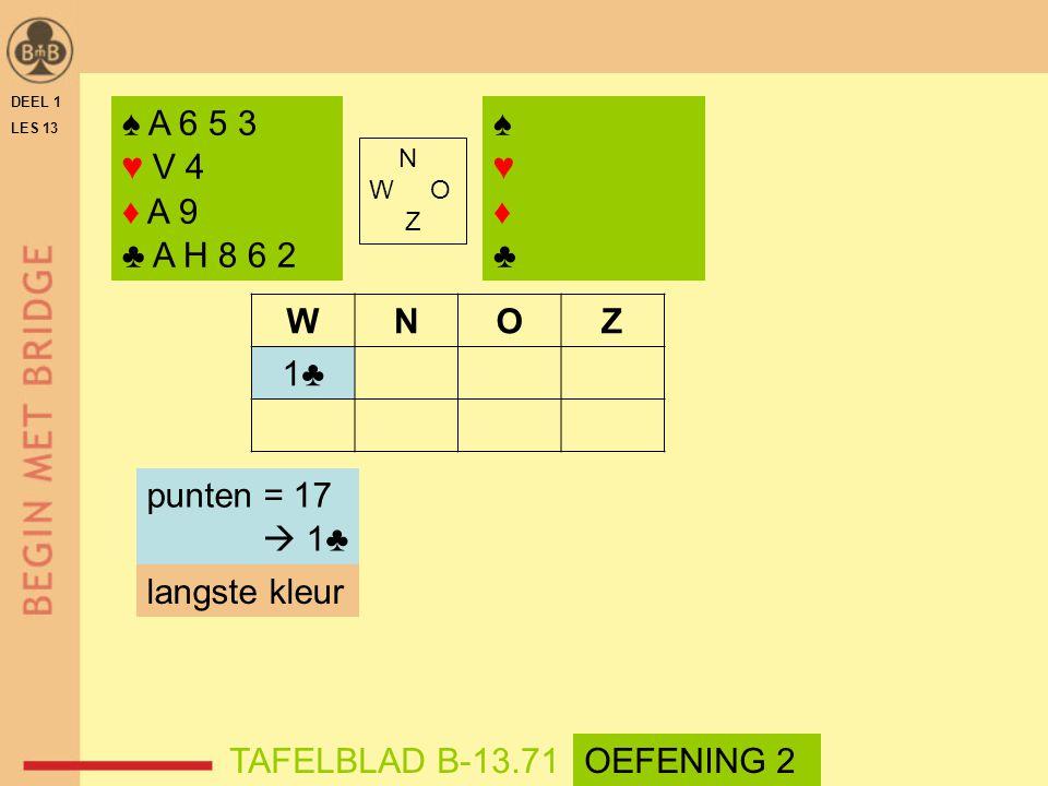 ♠ A 6 5 3 ♥ V 4 ♦ A 9 ♣ A H 8 6 2 ♠ ♥ ♦ ♣ W N O Z 1♣ punten = 17  1♣
