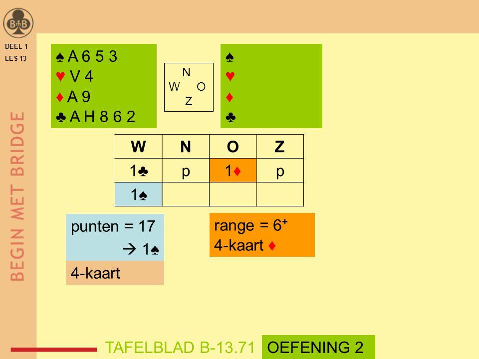 ♠ A 6 5 3 ♥ V 4 ♦ A 9 ♣ A H 8 6 2 ♠ ♥ ♦ ♣ W N O Z 1♣ p 1♦ 1♠