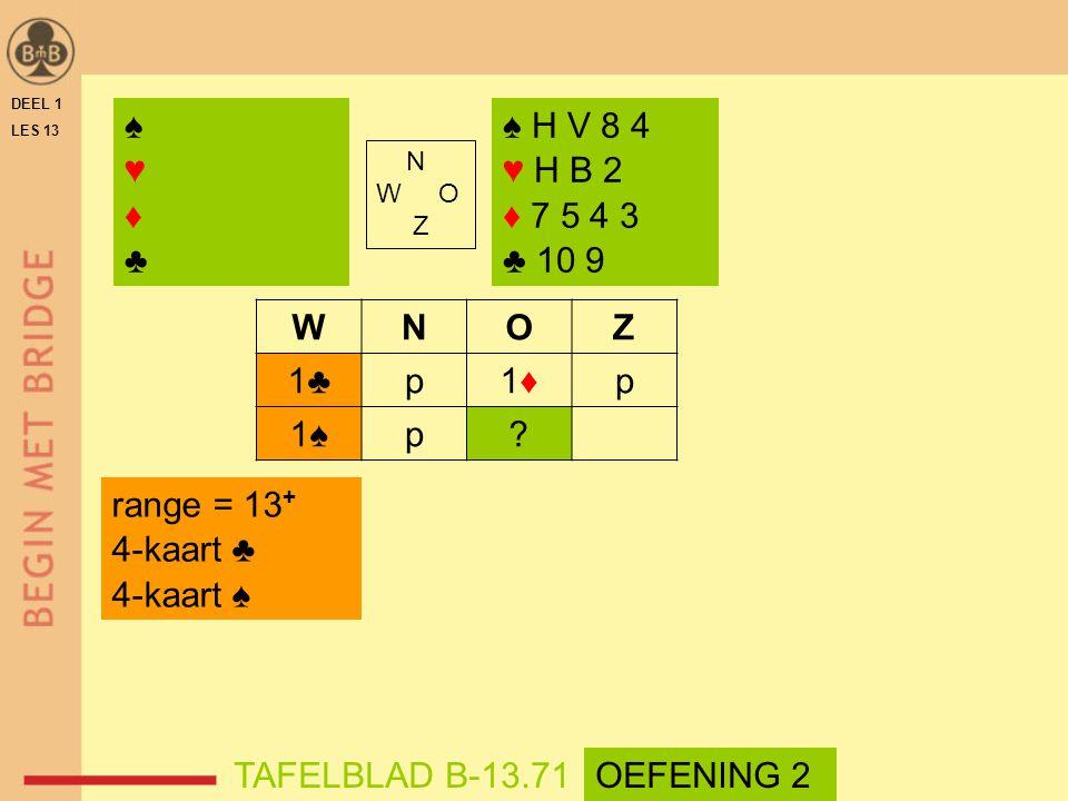 ♠ ♥ ♦ ♣ ♠ H V 8 4 ♥ H B 2 ♦ 7 5 4 3 ♣ 10 9 W N O Z 1♣ p 1♦ 1♠
