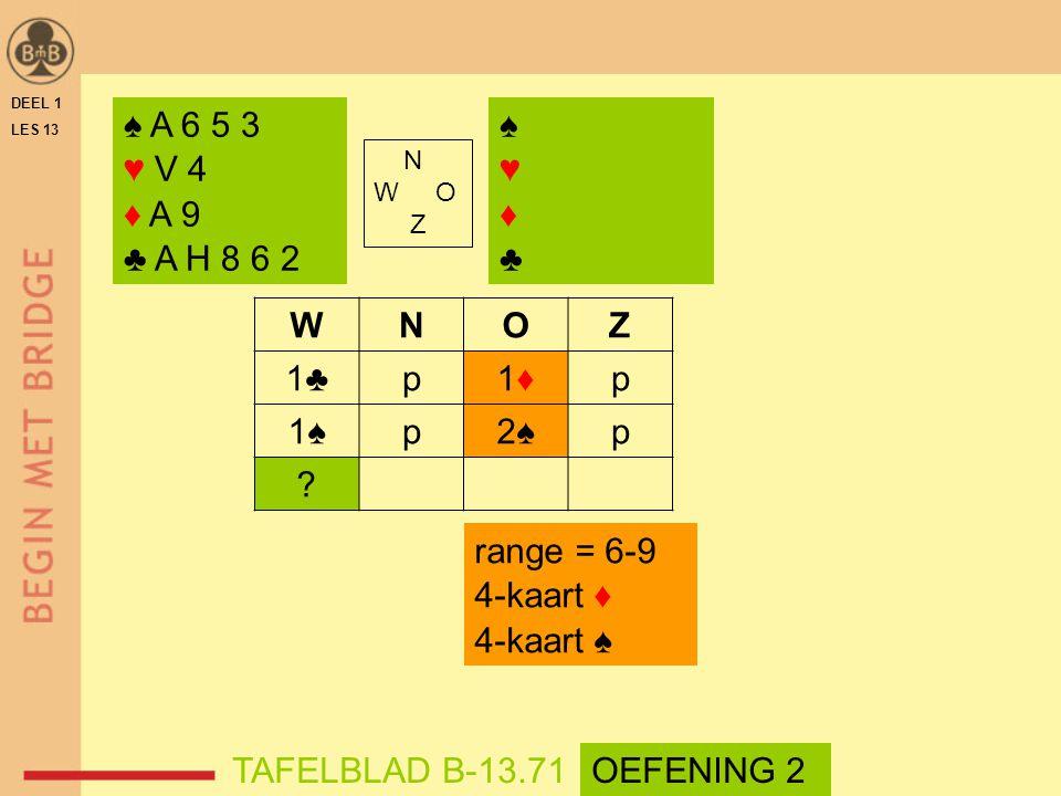 ♠ A 6 5 3 ♥ V 4 ♦ A 9 ♣ A H 8 6 2 ♠ ♥ ♦ ♣ W N O Z 1♣ p 1♦ 1♠ 2♠