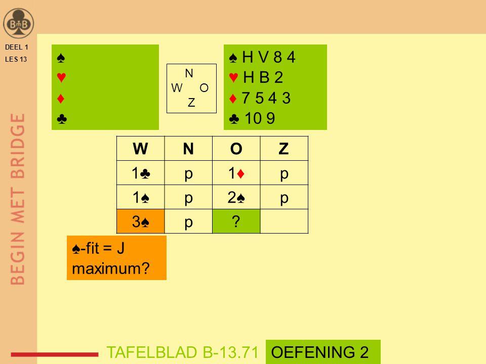♠ ♥ ♦ ♣ ♠ H V 8 4 ♥ H B 2 ♦ 7 5 4 3 ♣ 10 9 W N O Z 1♣ p 1♦ 1♠ 2♠ 3♠