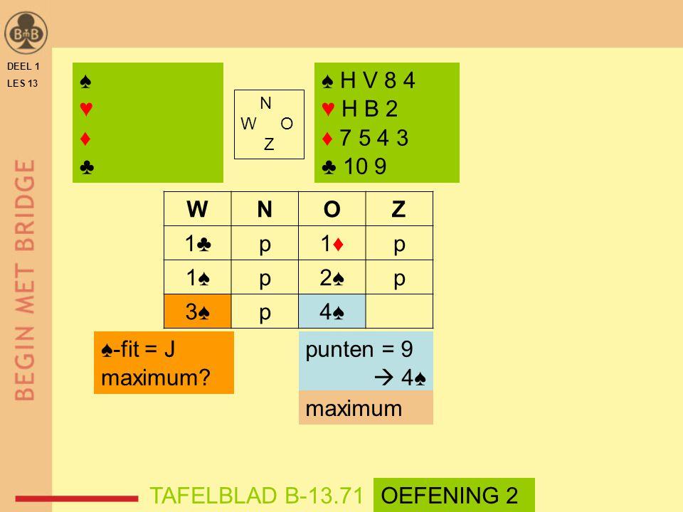 ♠ ♥ ♦ ♣ ♠ H V 8 4 ♥ H B 2 ♦ 7 5 4 3 ♣ 10 9 W N O Z 1♣ p 1♦ 1♠ 2♠ 3♠ 4♠