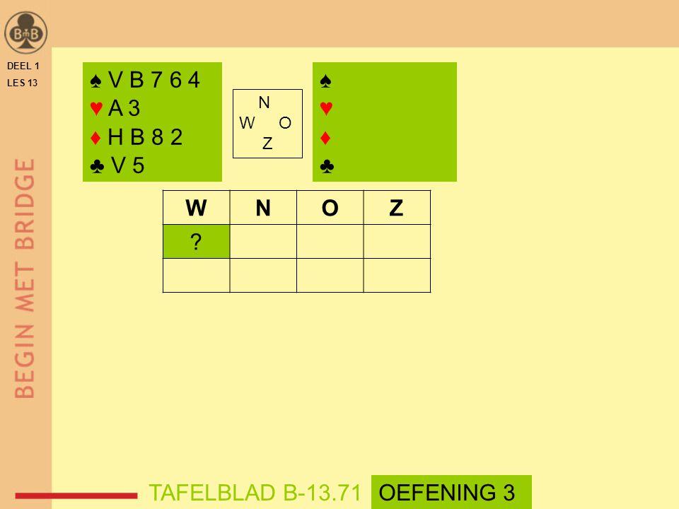 ♠ V B 7 6 4 ♥ A 3 ♦ H B 8 2 ♣ V 5 ♠ ♥ ♦ ♣ W N O Z TAFELBLAD B-13.71