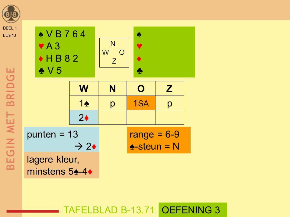 ♠ V B 7 6 4 ♥ A 3 ♦ H B 8 2 ♣ V 5 ♠ ♥ ♦ ♣ W N O Z 1♠ p 1SA 2♦