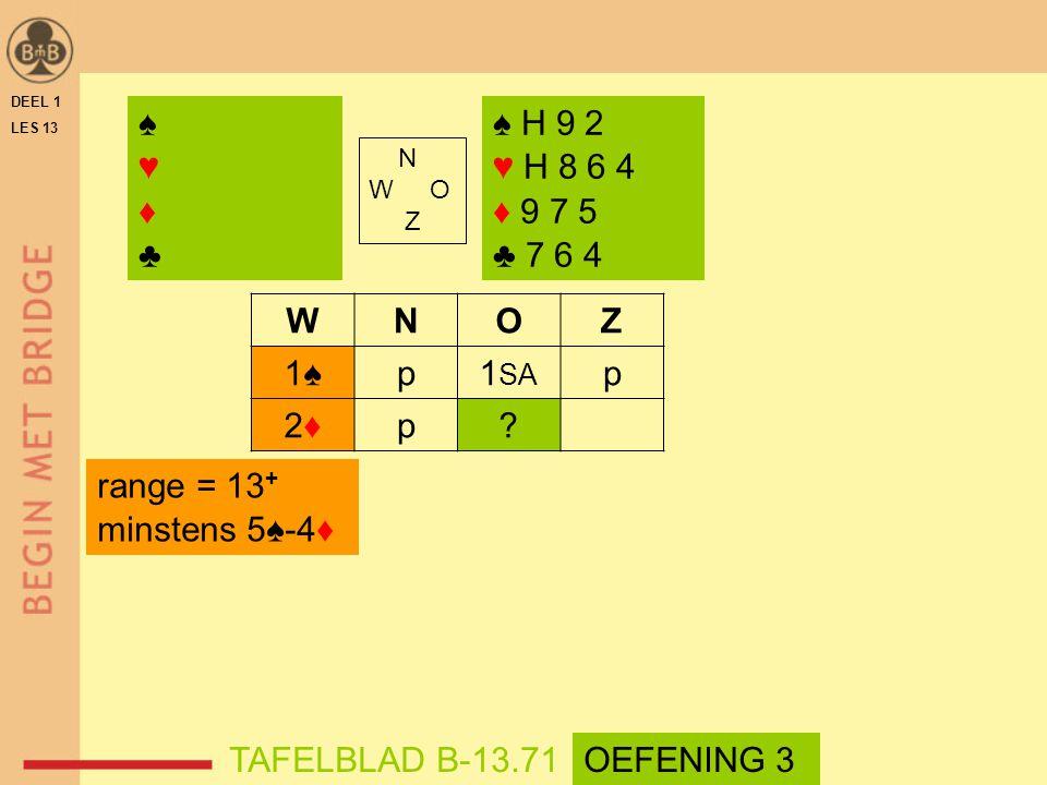 DEEL 1 LES 13. ♠ ♥ ♦ ♣ ♠ H 9 2. ♥ H 8 6 4. ♦ 9 7 5. ♣ 7 6 4. N. W O. Z. W. N. O. Z.