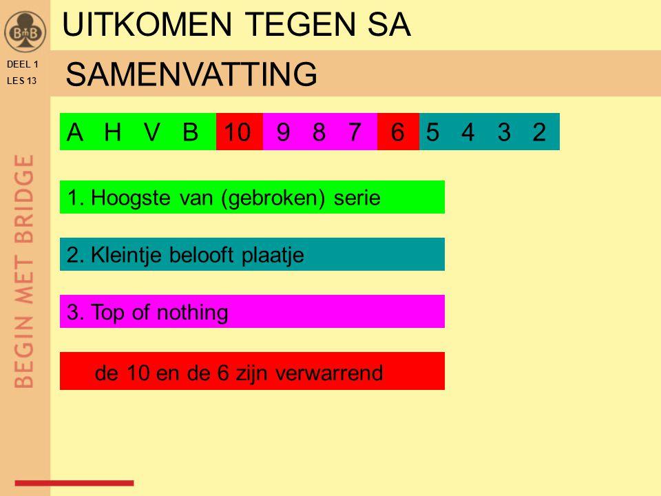 UITKOMEN TEGEN SA SAMENVATTING A H V B 10 9 8 7 6 5 4 3 2