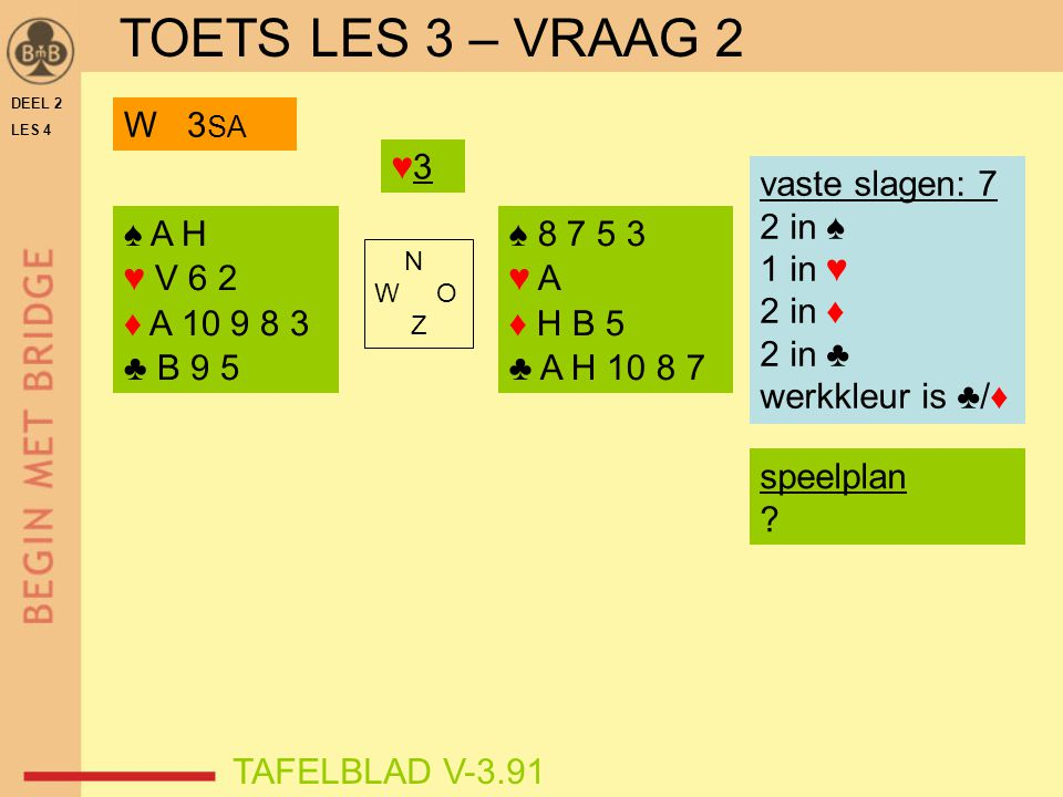 TOETS LES 3 – VRAAG 2 W 3SA ♥3 vaste slagen: 7 2 in ♠ 1 in ♥ 2 in ♦