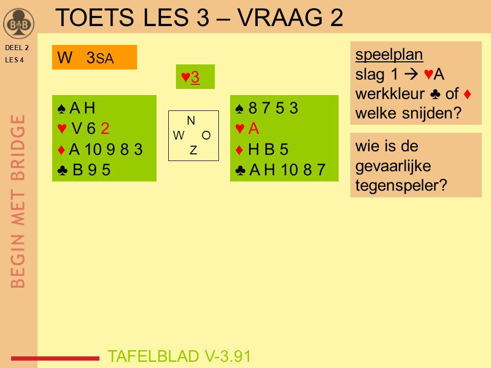 TOETS LES 3 – VRAAG 2 speelplan slag 1  ♥A werkkleur ♣ of ♦
