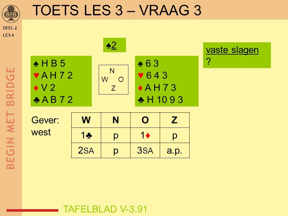 TOETS LES 3 – VRAAG 3 ♠2 vaste slagen ♠ H B 5 ♥ A H 7 2 ♦ V 2