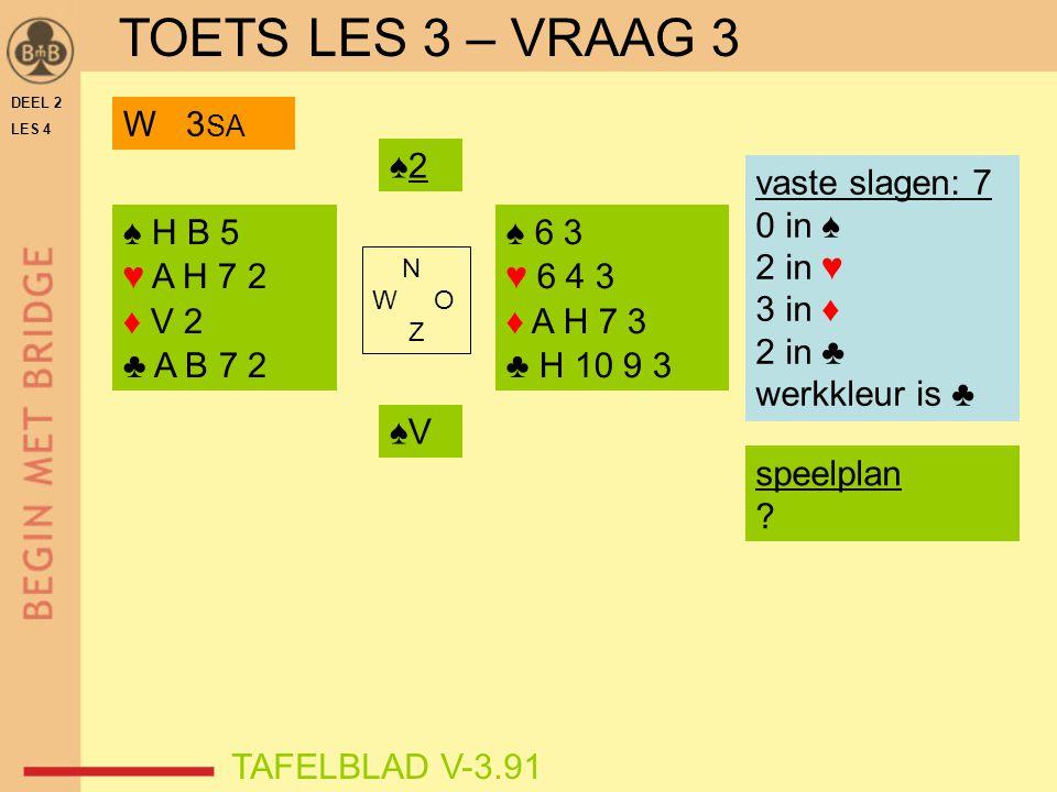 TOETS LES 3 – VRAAG 3 W 3SA ♠2 vaste slagen: 7 0 in ♠ 2 in ♥ 3 in ♦