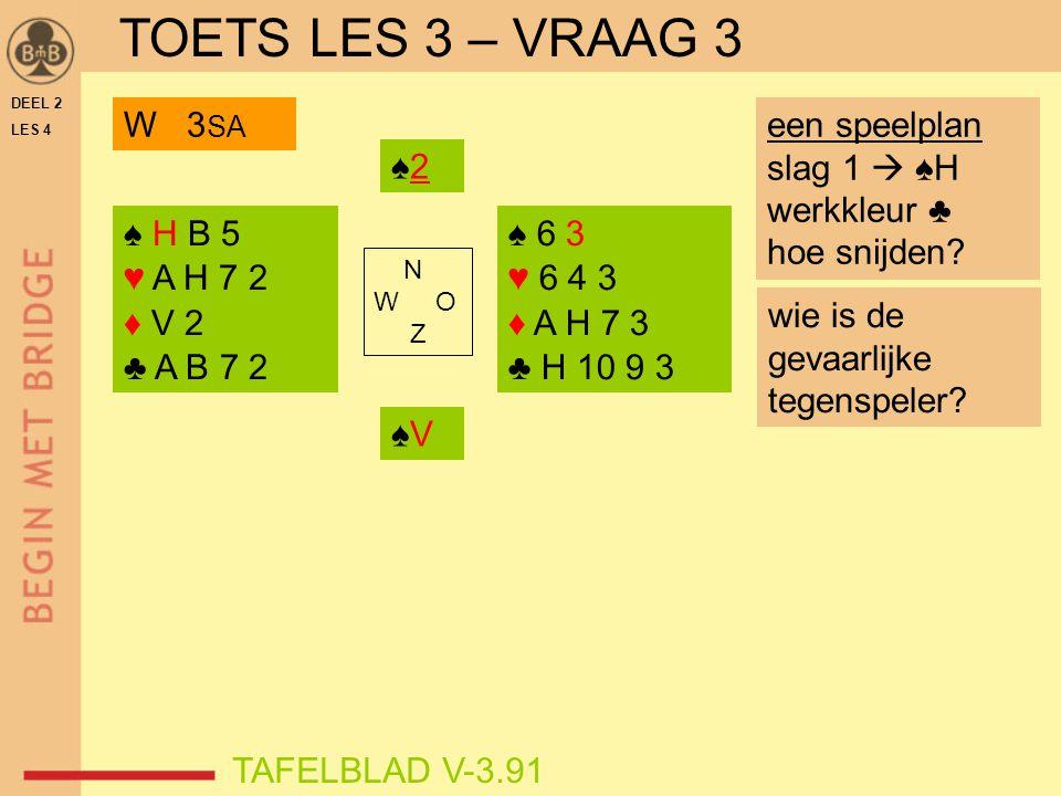 TOETS LES 3 – VRAAG 3 W 3SA een speelplan slag 1  ♠H werkkleur ♣