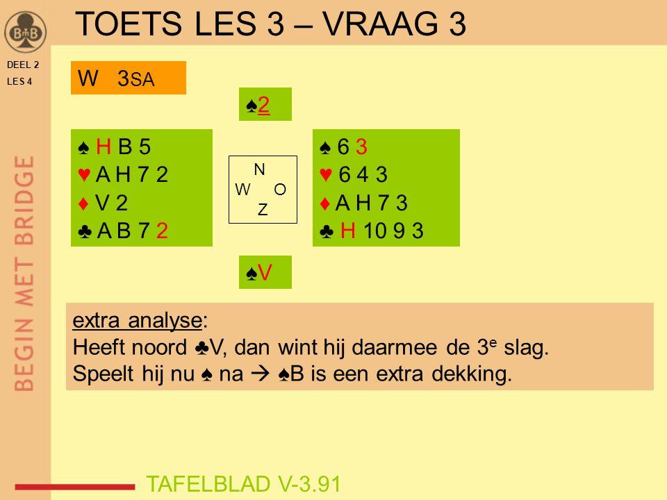 TOETS LES 3 – VRAAG 3 W 3SA ♠2 ♠ H B 5 ♥ A H 7 2 ♦ V 2 ♣ A B 7 2 ♠ 6 3