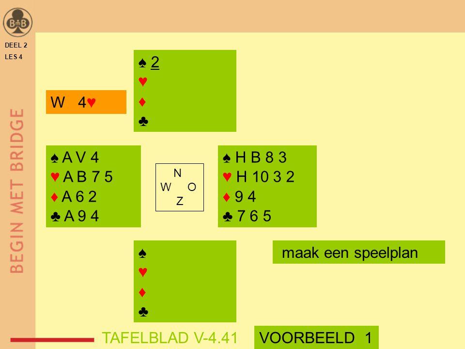 ♠ 2 ♥ ♦ ♣ W 4♥ ♠ A V 4 ♥ A B 7 5 ♦ A 6 2 ♣ A 9 4 ♠ H B 8 3 ♥ H 10 3 2