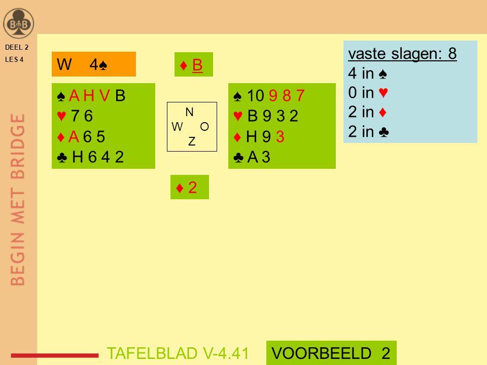 vaste slagen: 8 4 in ♠ 0 in ♥ 2 in ♦ 2 in ♣ W 4♠ ♦ B ♠ A H V B ♥ 7 6
