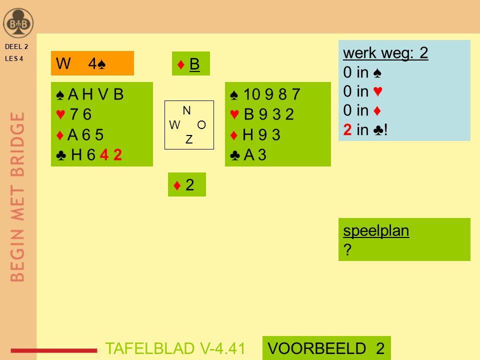 werk weg: 2 0 in ♠ 0 in ♥ 0 in ♦ 2 in ♣! W 4♠ ♦ B ♠ A H V B ♥ 7 6