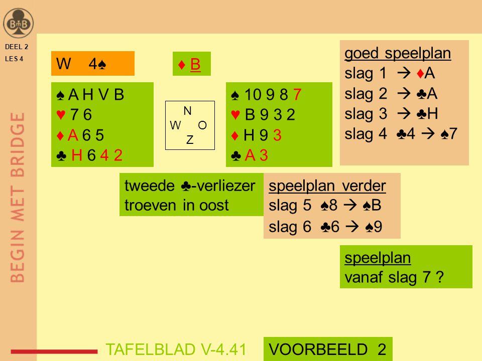 goed speelplan slag 1  ♦A slag 2  ♣A slag 3  ♣H slag 4 ♣4  ♠7 W 4♠