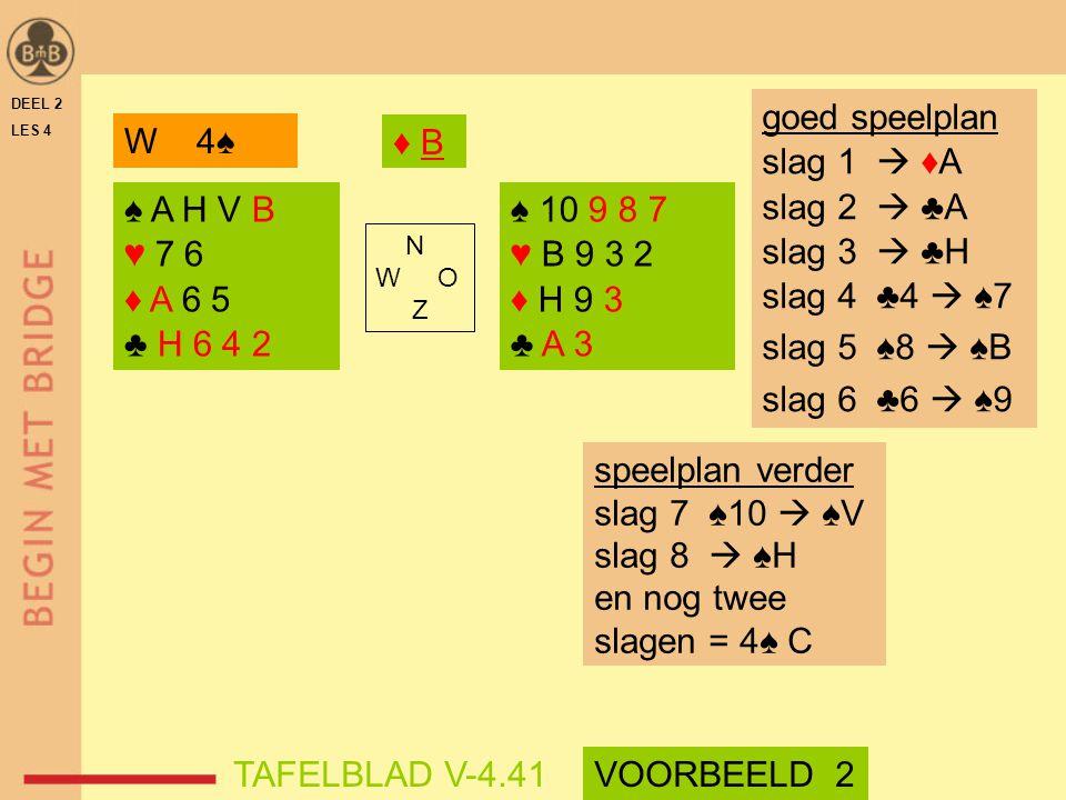 goed speelplan slag 1  ♦A slag 2  ♣A slag 3  ♣H slag 4 ♣4  ♠7