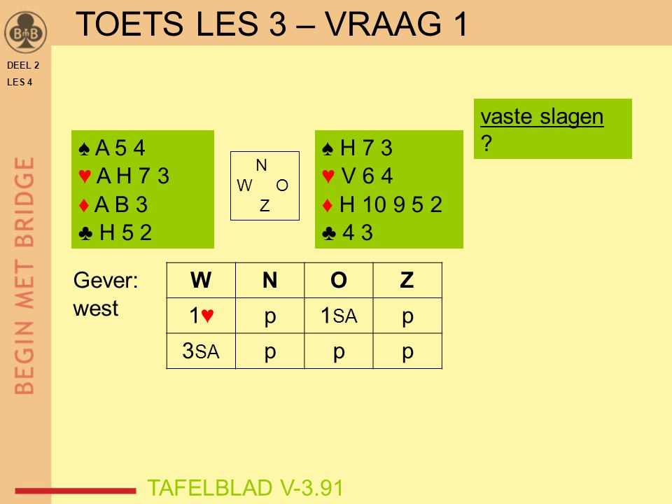 TOETS LES 3 – VRAAG 1 vaste slagen ♠ A 5 4 ♥ A H 7 3 ♦ A B 3 ♣ H 5 2