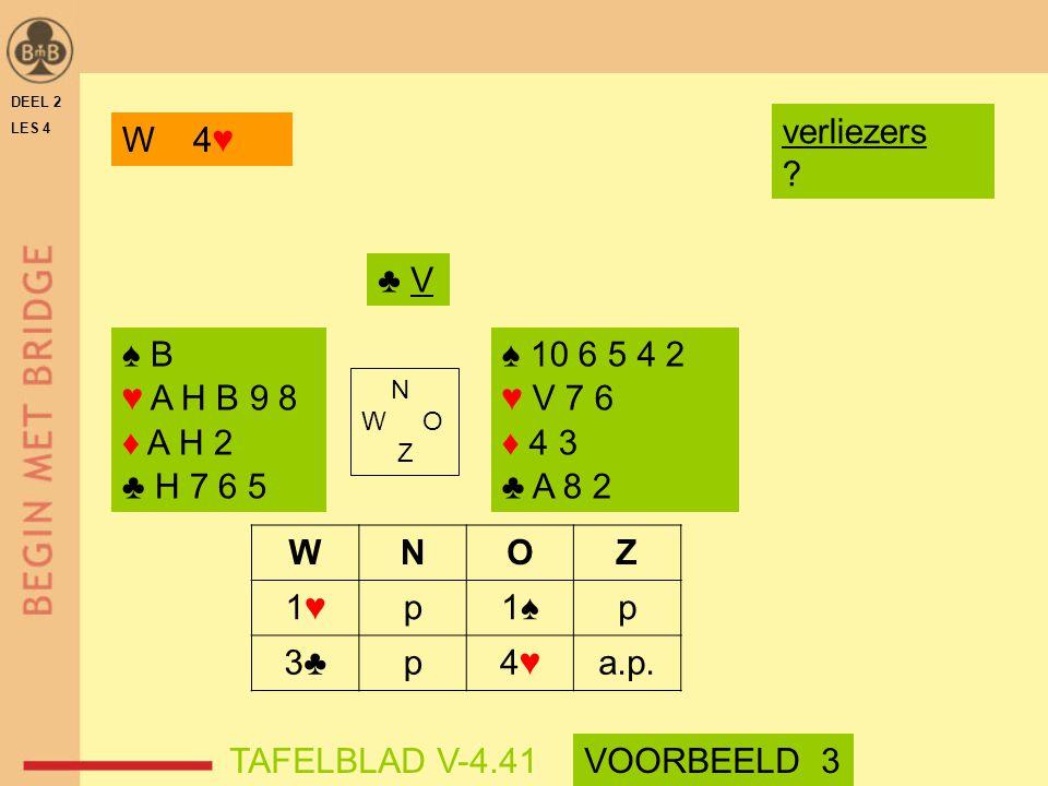 verliezers W 4♥ ♣ V ♠ B ♥ A H B 9 8 ♦ A H 2 ♣ H 7 6 5 ♠ 10 6 5 4 2
