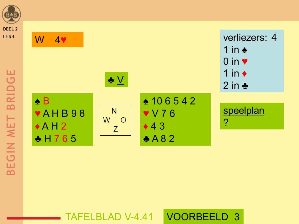 verliezers: 4 1 in ♠ 0 in ♥ 1 in ♦ 2 in ♣ W 4♥ ♣ V ♠ B ♥ A H B 9 8