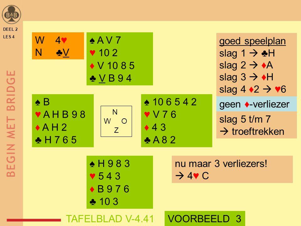 W 4♥ N ♣V ♠ A V 7 ♥ 10 2 ♦ V 10 8 5 ♣ V B 9 4 goed speelplan
