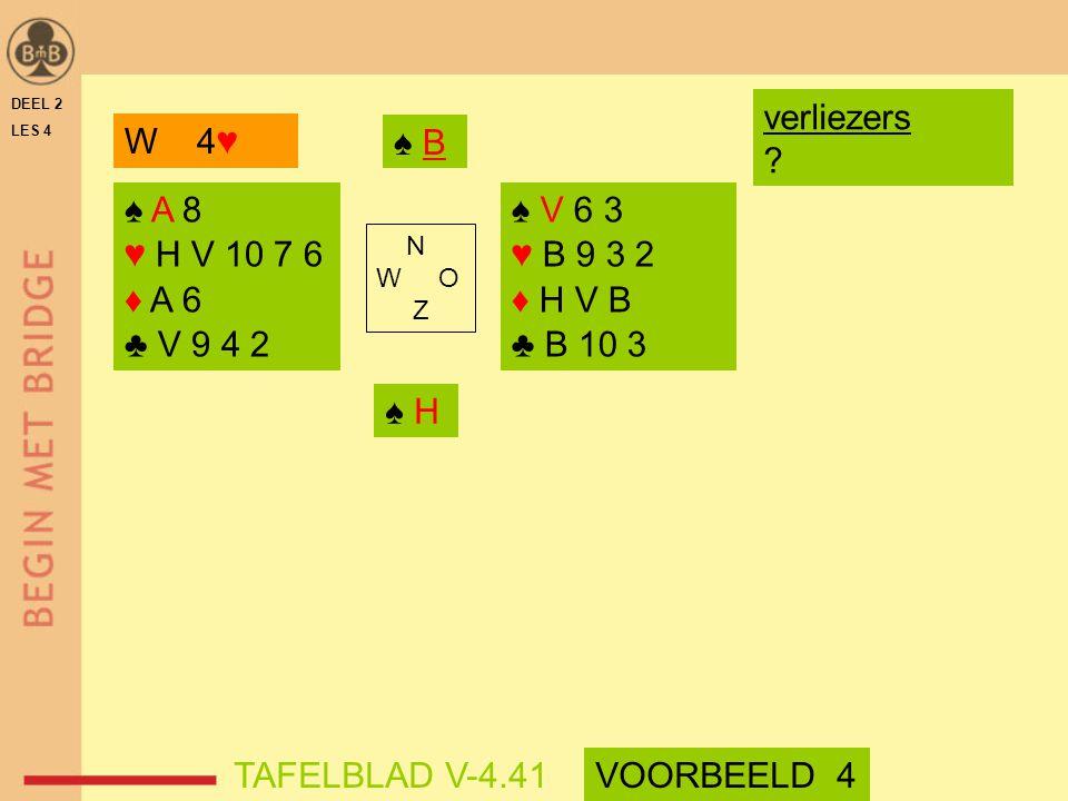 verliezers W 4♥ ♠ B ♠ A 8 ♥ H V 10 7 6 ♦ A 6 ♣ V 9 4 2 ♠ V 6 3