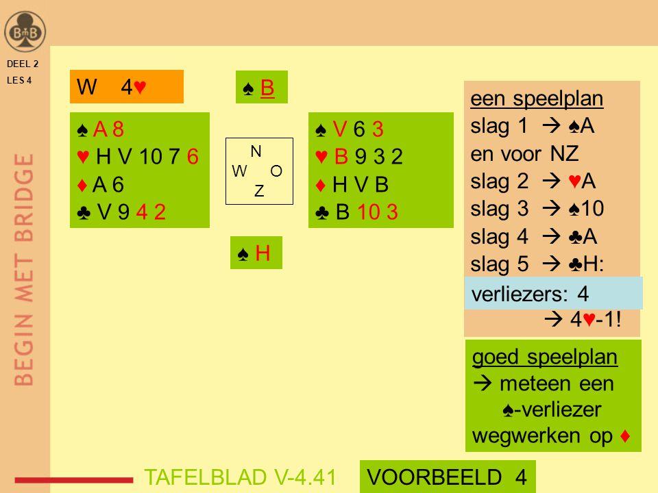 W 4♥ ♠ B een speelplan slag 1  ♠A en voor NZ slag 2  ♥A slag 3  ♠10