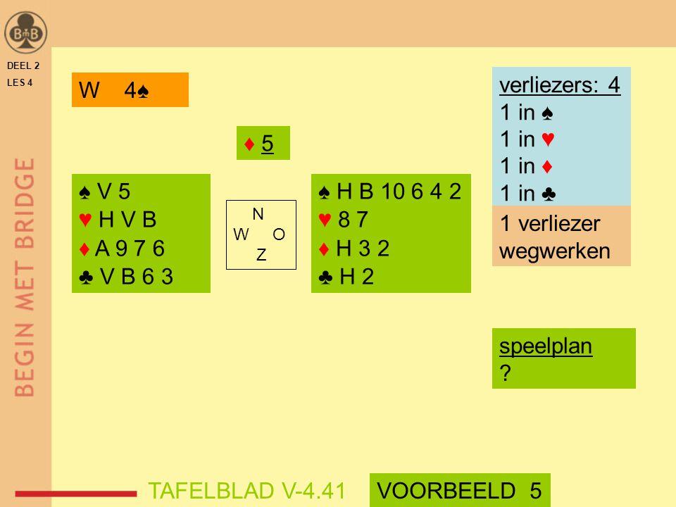 verliezers: 4 1 in ♠ 1 in ♥ 1 in ♦ 1 in ♣ W 4♠ ♦ 5 ♠ V 5 ♥ H V B