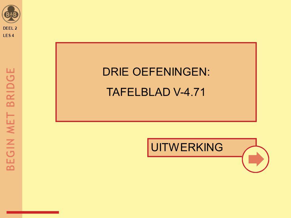 DEEL 2 LES 4 DRIE OEFENINGEN: TAFELBLAD V-4.71 UITWERKING