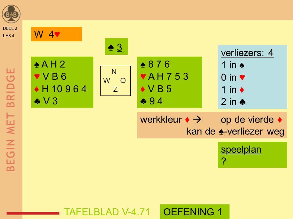 ♠ 3 W 4♥ verliezers: 4 1 in ♠ 0 in ♥ 1 in ♦ 2 in ♣ ♠ A H 2 ♥ V B 6