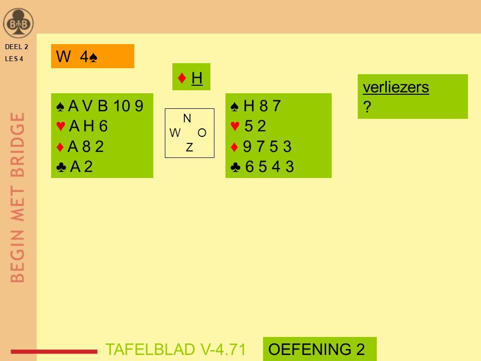 ♦ H W 4♠ verliezers ♠ A V B 10 9 ♥ A H 6 ♦ A 8 2 ♣ A 2 ♠ H 8 7 ♥ 5 2
